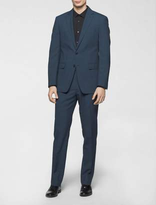 Calvin Klein x-fit ultra slim fit blue plaid suit