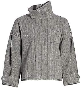 3.1 Phillip Lim Women's Tweed High-Collar Zippered Blouse - Size 0