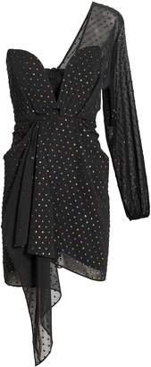 Michelle Mason Draped One Sleeve Sweetheart Mini Dress