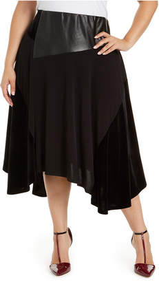 Calvin Klein Plus Size Velvet Faux-Leather Skirt