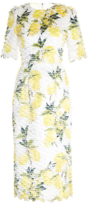 DOLCE & GABBANA Lemon-print fil coupé dress $3,608 thestylecure.com