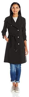 Calvin Klein Women's Plus Size Single Breasted Double Weave Wool Coat Belt