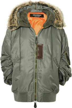 Junya Watanabe Hooded Faux Fur-trimmed Padded Shell Parka - Gray green