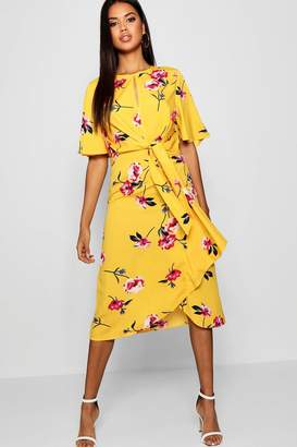 boohoo Knot Front Floral Midaxi Shift Dress