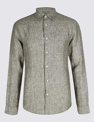 Marks and Spencer Pure Linen Slim Fit Shirt with Pocket