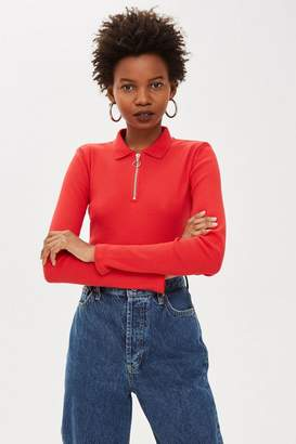Topshop PETITE Long Sleeve Zip Polo