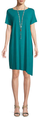 Eileen Fisher Ballet-Neck Asymmetric-Hem Jersey Dress, Plus Size