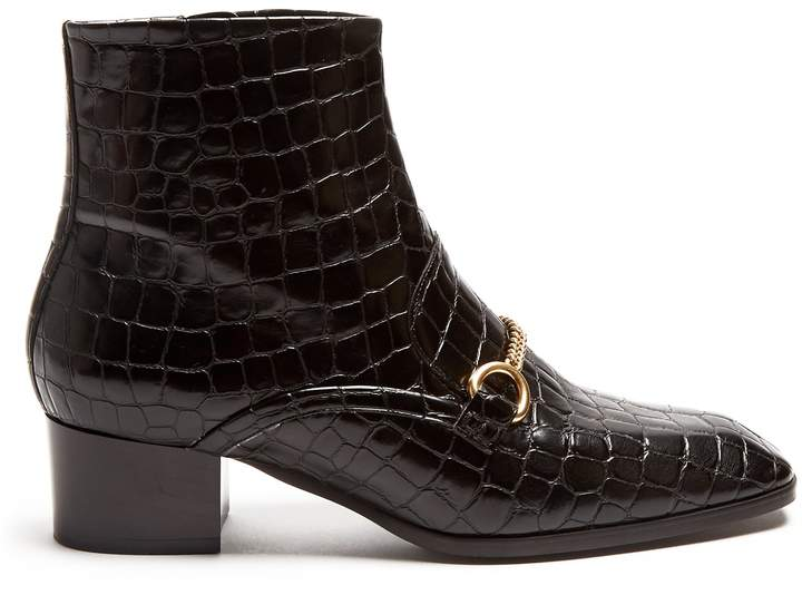 STELLA MCCARTNEY Crocodile-effect faux-leather ankle boots