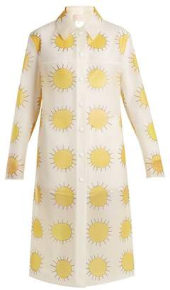 Christopher Kane Sun Print Frosted Rubberised Coat - Womens - Yellow Multi