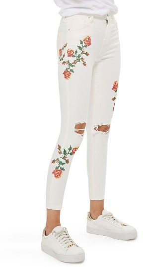 Topshop Petite Women's Topshop Jamie Embroidered Skinny Jeans