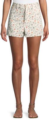 Rebecca Taylor Vine-Embroidered Twill Shorts