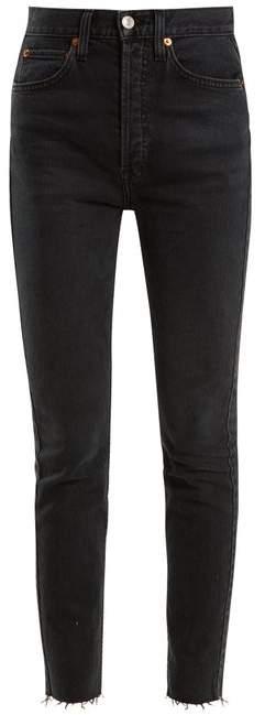 RE/DONE ORIGINALS Frayed-hem high-rise skinny jeans