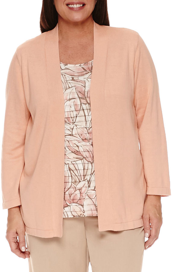 Alfred Dunner Alfred Dunner Just Peachy 3/4 Sleeve Crew Neck Layered Sweaters-Plus