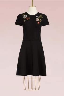RED Valentino Floral Embroidered Knit Dress