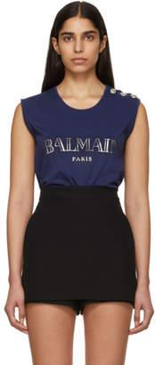 Balmain Navy Buttoned Logo Sleeveless T-Shirt