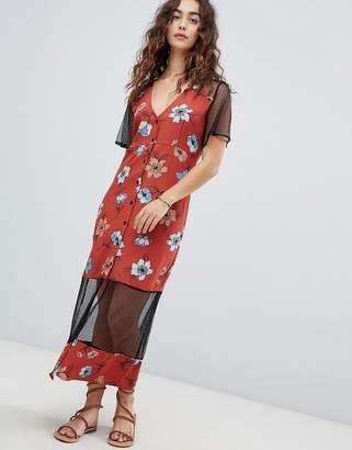 MinkPink Ornate Midi Dress With Mesh Inserts