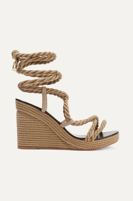 Jimmy Choo Allis 95 Leather-trimmed Rope Wedge Sandals - Beige