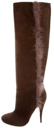 Nina Ricci Feather-Trimmed Knee-High Booots