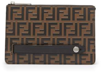 Fendi Logo Embossed Leather Pouch - Mens - Brown