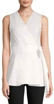 Diane von Furstenberg Sleeveless Cotton Wrap Top