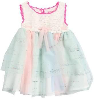 Billieblush Cotton Crochet & Stretch Tulle Dress