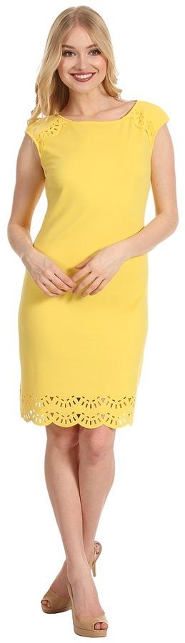 Donna Morgan Cleo - Laser Cut Ponte Dress (Canary Punch) - Apparel