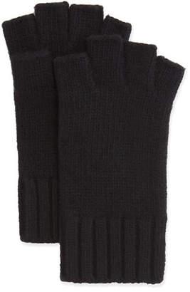 Bergdorf Goodman Fingerless Knit Cashmere Gloves, Black