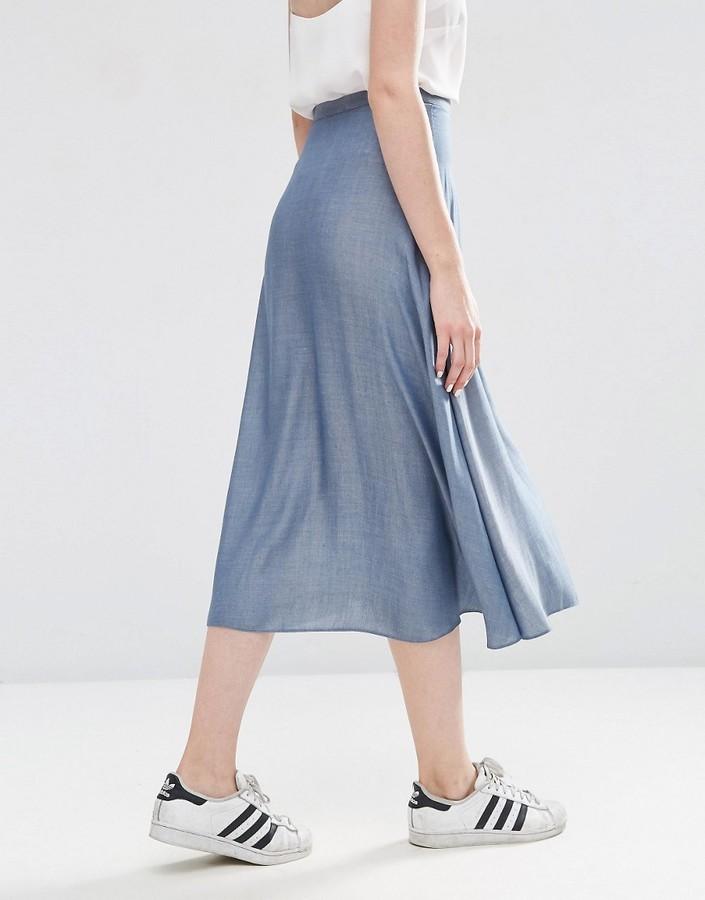 asos button through midi skirt in chambray shopstyle co