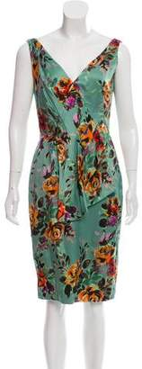Lela Rose Silk Floral Print Dress