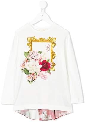 MonnaLisa mixed-print long sleeve T-shirt