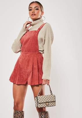 Missguided Petite Rust Cord Dungaree Playsuit