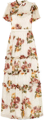 Needle & Thread Venetian Ruffled Floral-print Fil Coupe Crepon Gown