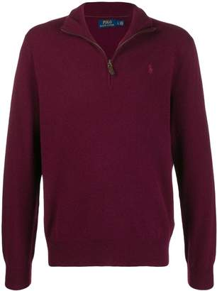 Polo Ralph Lauren embroidered knit funnel-neck sweater