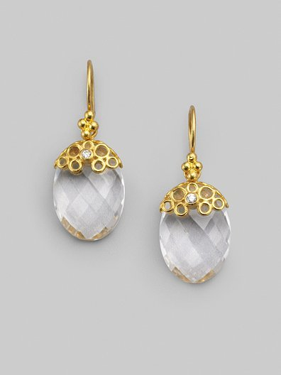Gurhan White Quartz, Diamond & 24K Yellow Gold Drop Earrings
