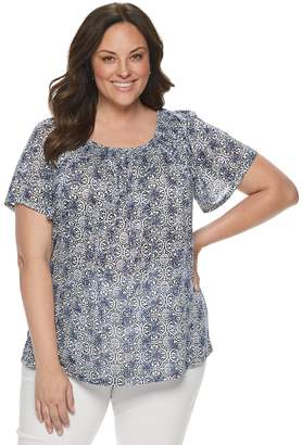 Dana Buchman Plus Size Smocked Scoopneck Top