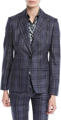 Kiton One-Button Plaid Cashmere-Blend Jacket