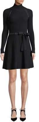 RED Valentino Turtleneck Long-Sleeve Ribbon Waist Knit Mini Dress w/ Metal Trim