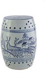 Blue and White Ceramic Reindeer Stool