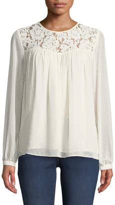 d9bed7db8123ac MICHAEL Michael Kors Lace-Yoked Peasant Blouse with Sequins