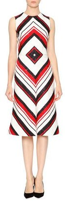 Dolce & Gabbana Sleeveless Geometric-Print Dress, Red/White/Black $1,995 thestylecure.com