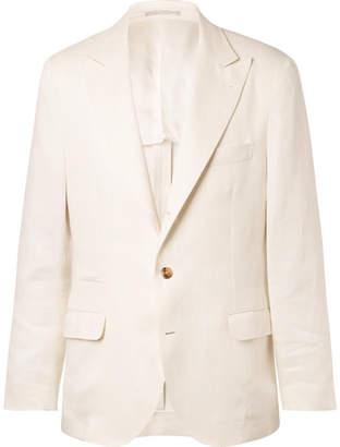 Brunello Cucinelli White Linen Suit Jacket - Men - White