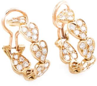 Cartier Heritage  Virgo 18K Rose Gold 1.40 Ct. Tw. Diamond Heart Clip-On Hoops With Original Box