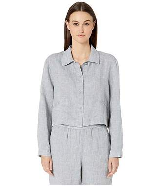 Eileen Fisher Yarn-Dyed Handkerchief Organic Linen Classic Collar Jacket