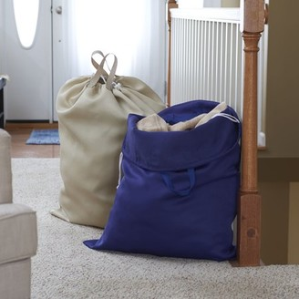 Household Essentials 2 pk Laundry Bags Double Handles Draw Cord w/cord lock, Navy & Angora