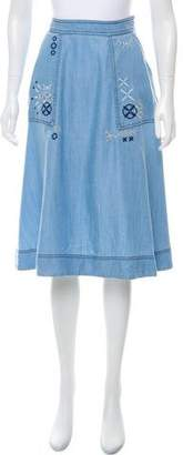 Camilla Embroidered Chambray SKirt