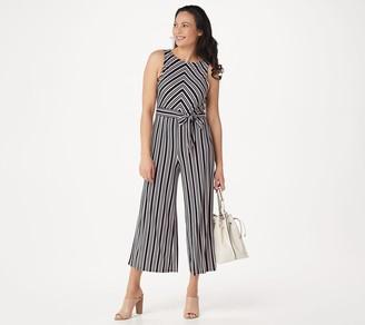 Du Jour Petite Stripe Printed Wide-Leg Crop Jumpsuit