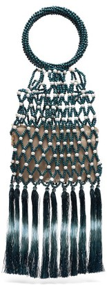 Rosantica By Michela Panero - Destiny Bead And Tassel Top Handle Bag - Womens - Blue White
