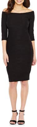 PREMIER AMOUR Premier Amour 3/4 Sleeve Jacquard Bodycon Dress