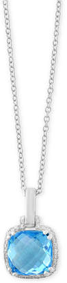 Effy Final Call by Blue Topaz (3 ct. t.w.) & Diamond Accent Pendant Necklace in 14k White Gold