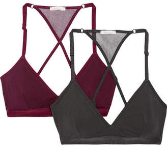 Skin - Corinna Set Of Two Stretch Organic Pima Cotton-jersey Soft-cup Bras - Charcoal